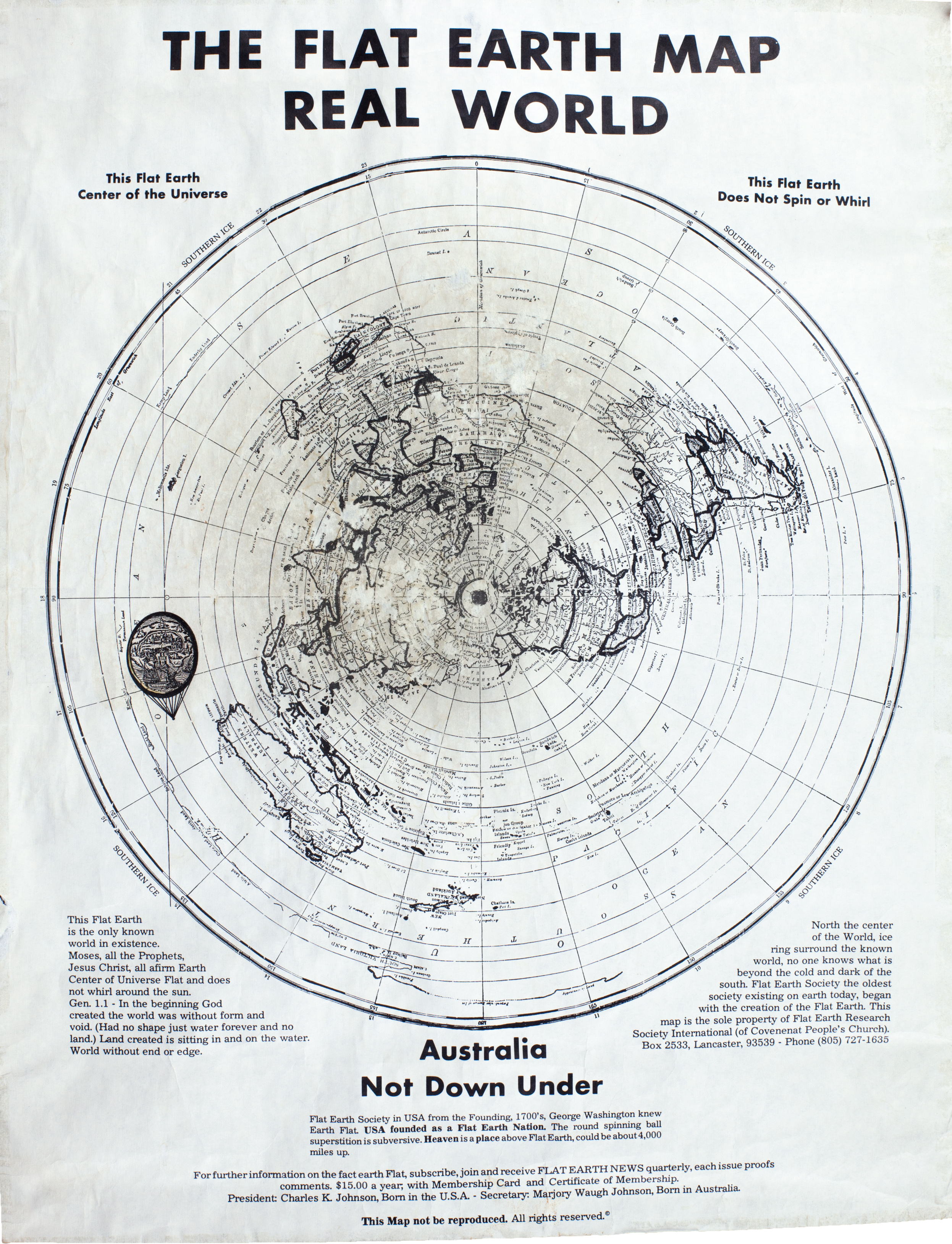 01 Flat Earth Society Map (Charles K. Johnson)